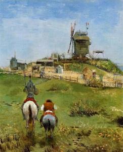 Dom Quixote visita propriedade de Vincent van Gogh — Colagem de Vicente Freitas